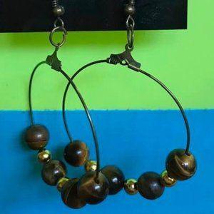 Bronze Tone Hook & Hoop Earrings